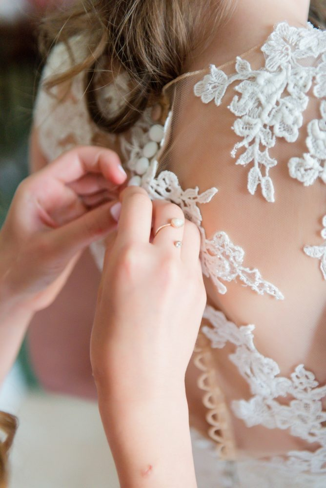 Lace Back Wedding Dress: Elegant Spring Omni William Penn Wedding from Leeann Marie Photography featured on Burgh Brides