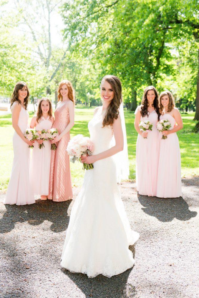 Blush Pink Bridesmaids Dresses: Elegant Spring Omni William Penn Wedding from Leeann Marie Photography featured on Burgh Brides