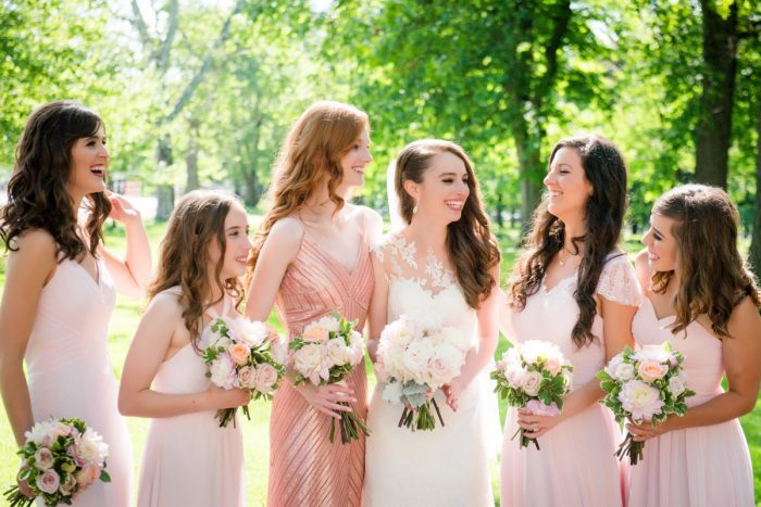Pink Bridesmaids Dresses: Elegant Spring Omni William Penn Wedding from Leeann Marie Photography featured on Burgh Brides