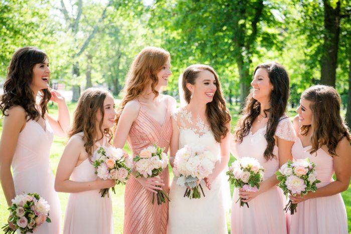 Pink Bridesmaids Dresses: Elegant Spring Omni William Penn Wedding from Leeann Marie Photography featured on Burgh Brides