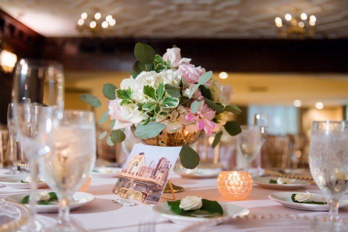 Pink Wedding Flowers: Elegant Spring Omni William Penn Wedding from Leeann Marie Photography featured on Burgh Brides
