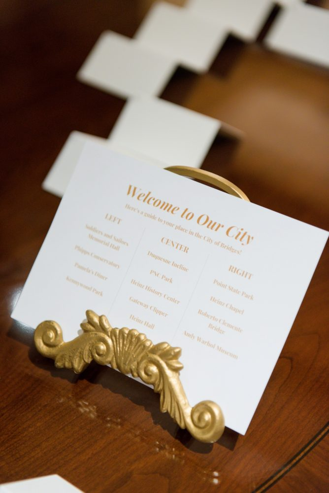 Wedding Welcome Cards: Elegant Spring Omni William Penn Wedding from Leeann Marie Photography featured on Burgh Brides