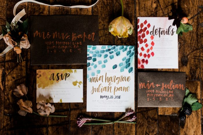 Hand painted wedding invitations: Hip Eclectic Wedding Inspiration from Sky's the Limit Photography featured on Burgh Brides