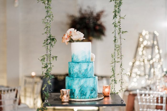 Hand painted suspended wedding cake: Hip Eclectic Wedding Inspiration from Sky's the Limit Photography featured on Burgh Brides
