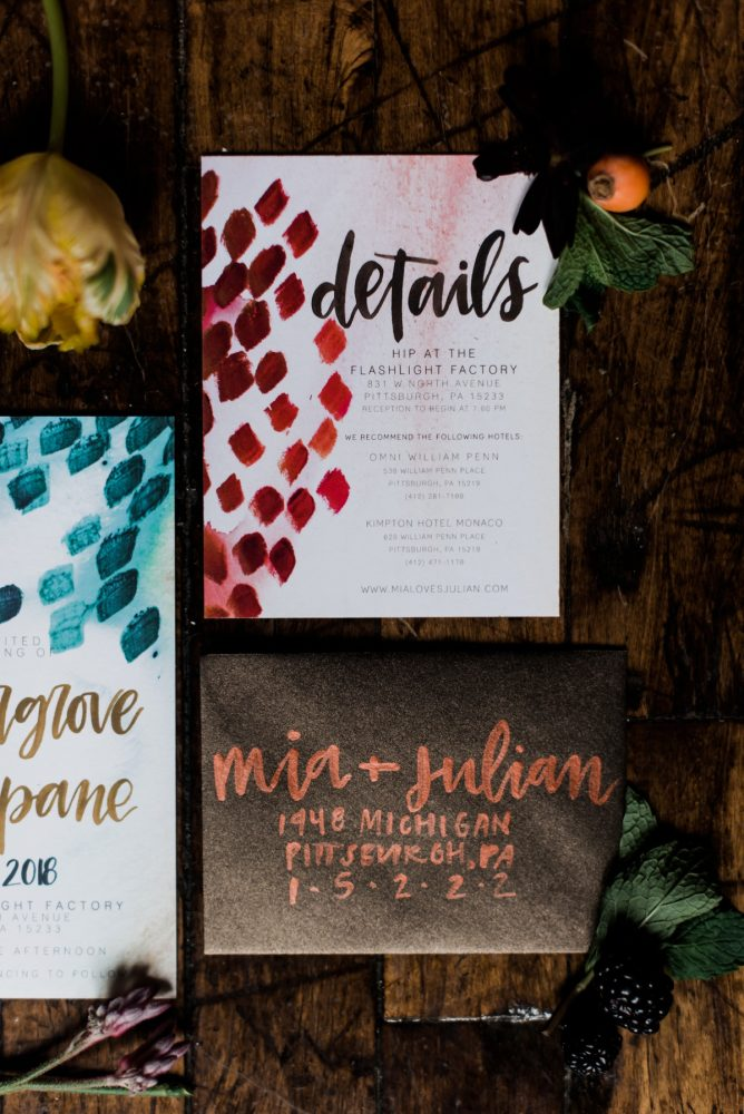 Hand painted wedding stationery: Hip Eclectic Wedding Inspiration from Sky's the Limit Photography featured on Burgh Brides
