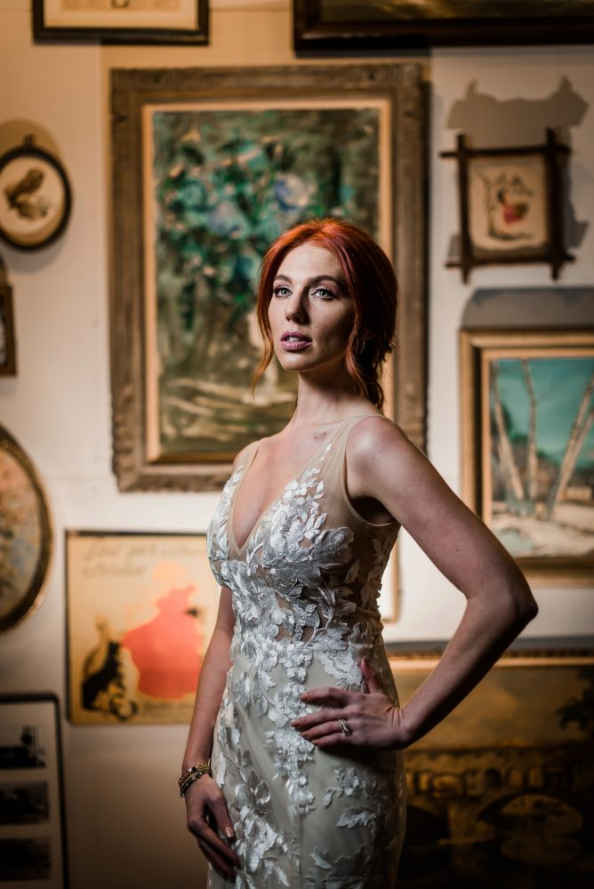 Illusion lace wedding dress: Hip Eclectic Wedding Inspiration from Sky's the Limit Photography featured on Burgh Brides