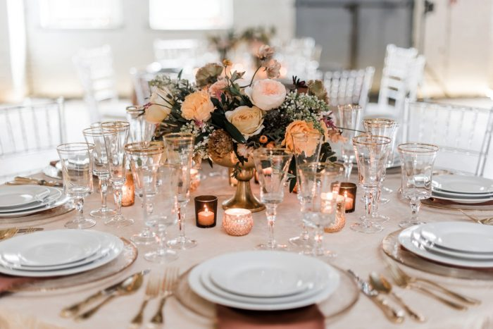 Rose gold wedding tablescape: Hip Eclectic Wedding Inspiration from Sky's the Limit Photography featured on Burgh Brides