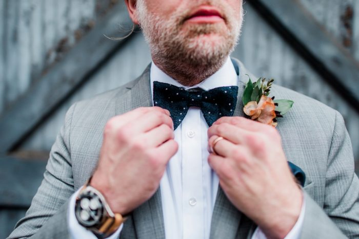 Gray groom's suit with navy blue bow tie: Hip Eclectic Wedding Inspiration from Sky's the Limit Photography featured on Burgh Brides