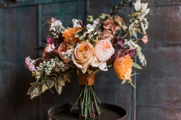 Yellow and pink wedding bouquet: Hip Eclectic Wedding Inspiration from Sky's the Limit Photography featured on Burgh Brides