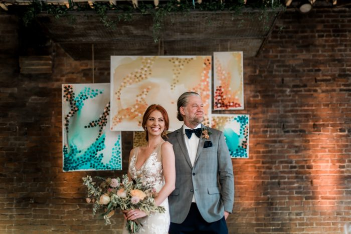 Art inspired wedding backdrop: Hip Eclectic Wedding Inspiration from Sky's the Limit Photography featured on Burgh Brides