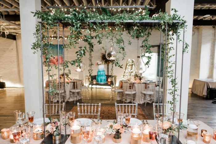 Hanging greenery over wedding tablescape: Hip Eclectic Wedding Inspiration from Sky's the Limit Photography featured on Burgh Brides