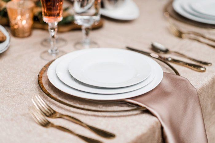 Wedding tablescape with rose gold napkins: Hip Eclectic Wedding Inspiration from Sky's the Limit Photography featured on Burgh Brides