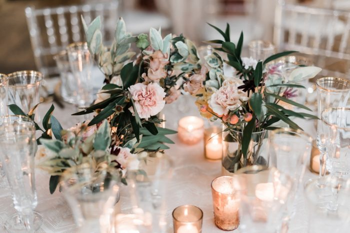 Rose gold wedding decor: Hip Eclectic Wedding Inspiration from Sky's the Limit Photography featured on Burgh Brides