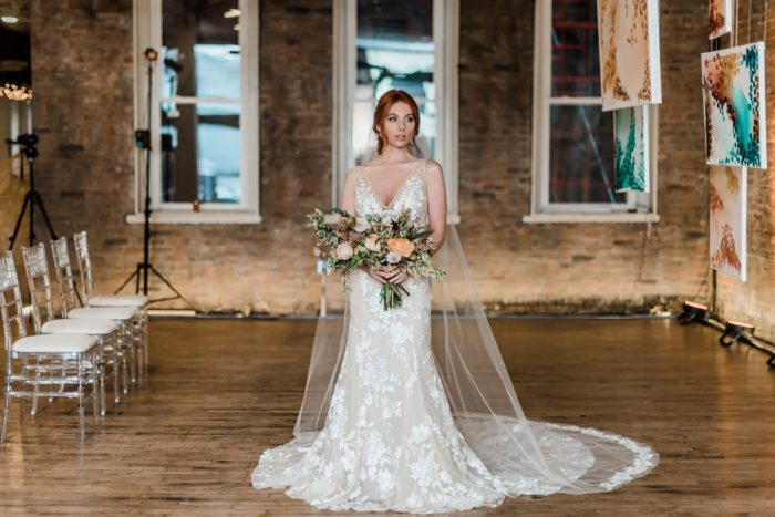 Illusion lace wedding dress with floral details: Hip Eclectic Wedding Inspiration from Sky's the Limit Photography featured on Burgh Brides
