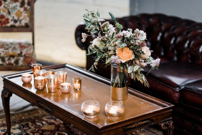 Gold wedding decor: Hip Eclectic Wedding Inspiration from Sky's the Limit Photography featured on Burgh Brides