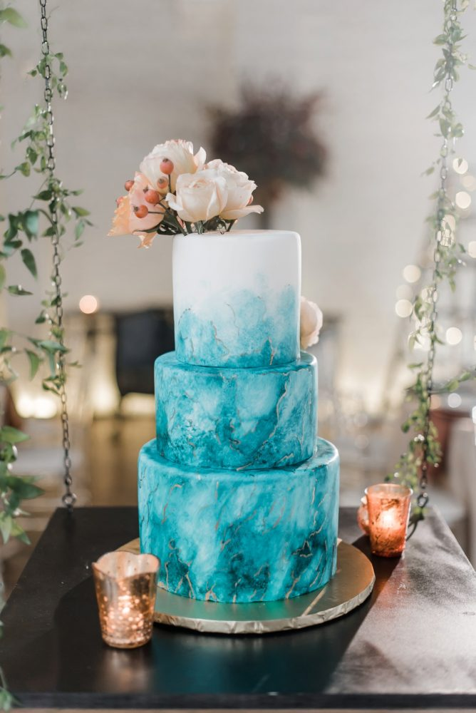 Teal wedding cake: Hip Eclectic Wedding Inspiration from Sky's the Limit Photography featured on Burgh Brides