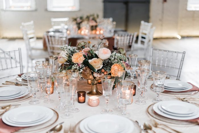Yellow and pink wedding centerpieces: Hip Eclectic Wedding Inspiration from Sky's the Limit Photography featured on Burgh Brides
