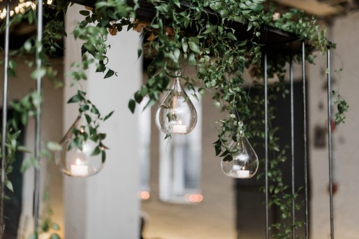 Floating candles hanging from greenery: Hip Eclectic Wedding Inspiration from Sky's the Limit Photography featured on Burgh Brides