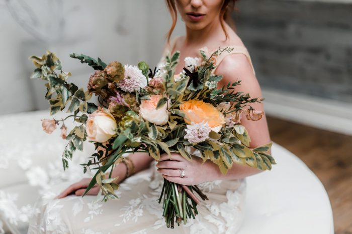 Pink and yellow bridal bouquet: Hip Eclectic Wedding Inspiration from Sky's the Limit Photography featured on Burgh Brides