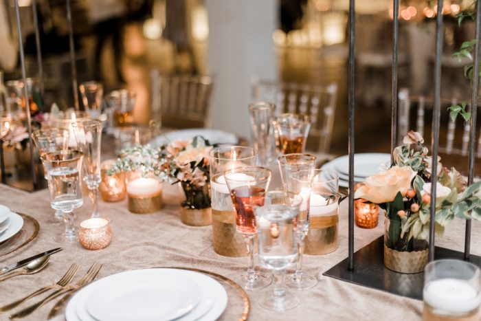 Gold and pink wedding decor: Hip Eclectic Wedding Inspiration from Sky's the Limit Photography featured on Burgh Brides