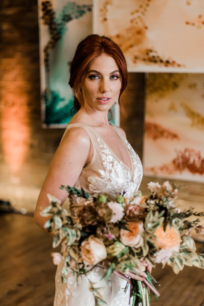 Yellow and pink bridal bouquet: Hip Eclectic Wedding Inspiration from Sky's the Limit Photography featured on Burgh Brides