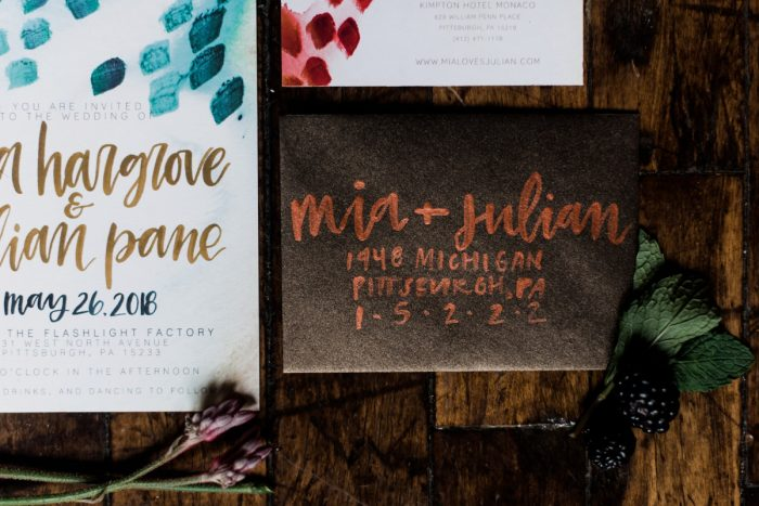 Copper calligraphy on brown envelope: Hip Eclectic Wedding Inspiration from Sky's the Limit Photography featured on Burgh Brides