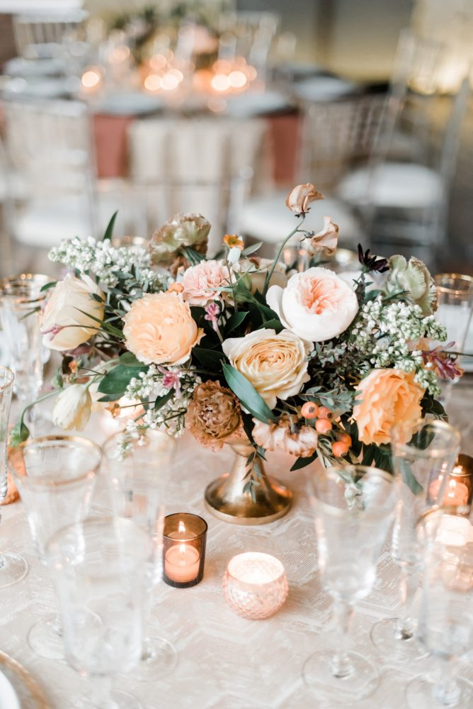 Yellow and pink garden roses wedding centerpieces: Hip Eclectic Wedding Inspiration from Sky's the Limit Photography featured on Burgh Brides