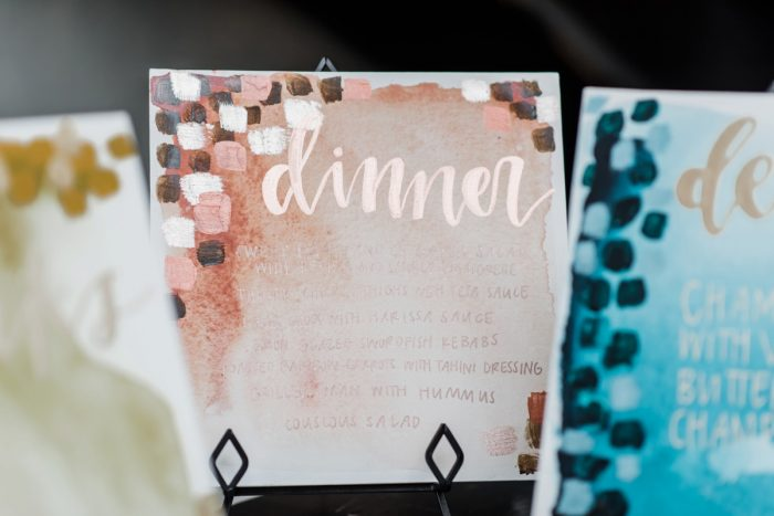 Copper wedding signs: Hip Eclectic Wedding Inspiration from Sky's the Limit Photography featured on Burgh Brides