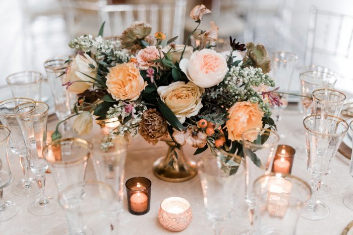 Pink and yellow garden roses wedding centerpieces