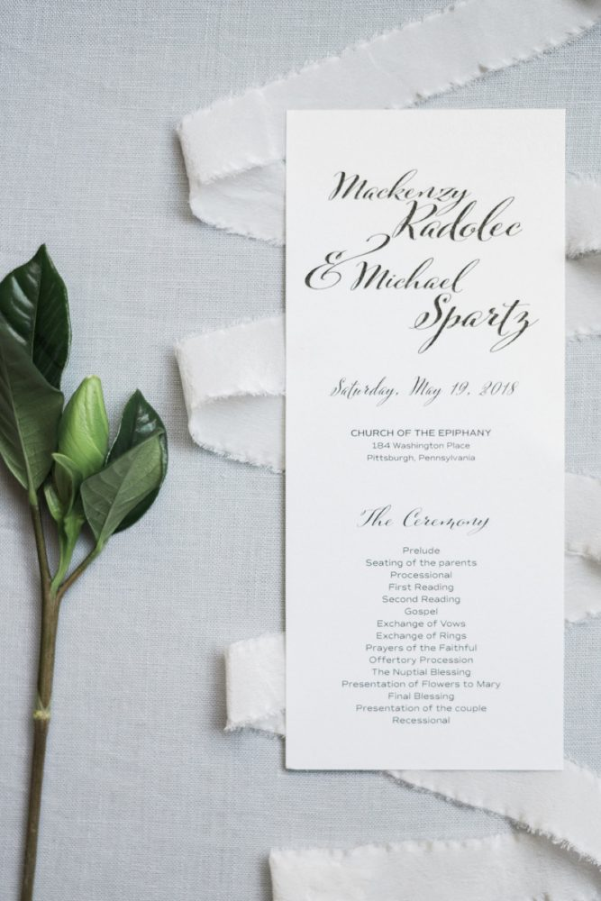 Black and White Wedding Ceremony Programs: Soft & Neutral Wedding at The Pennsylvanian from Levana Melamed Photography featured on Burgh Brides