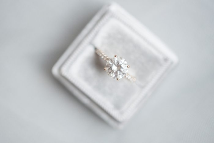Round Diamond Engagement Ring: Soft & Neutral Wedding at The Pennsylvanian from Levana Melamed Photography featured on Burgh Brides