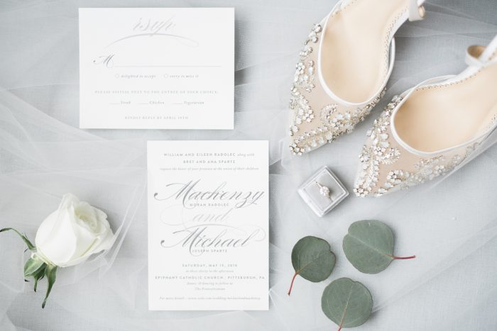 Classic Wedding Invitations Bella Belle Wedding Shoes The Mrs. Box Ring Box: Soft & Neutral Wedding at The Pennsylvanian from Levana Melamed Photography featured on Burgh Brides