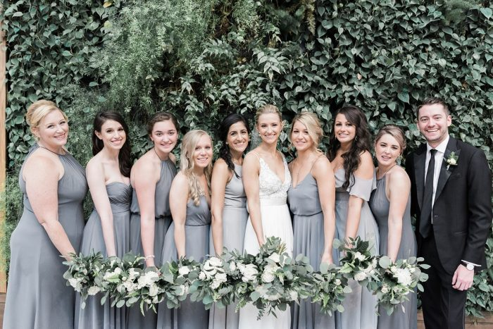 Mismatched Gray Bridesmaids Dresses: Soft & Neutral Wedding at The Pennsylvanian from Levana Melamed Photography featured on Burgh Brides