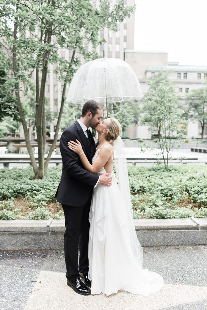 Rainy wedding day photos: Soft & Neutral Wedding at The Pennsylvanian from Levana Melamed Photography featured on Burgh Brides