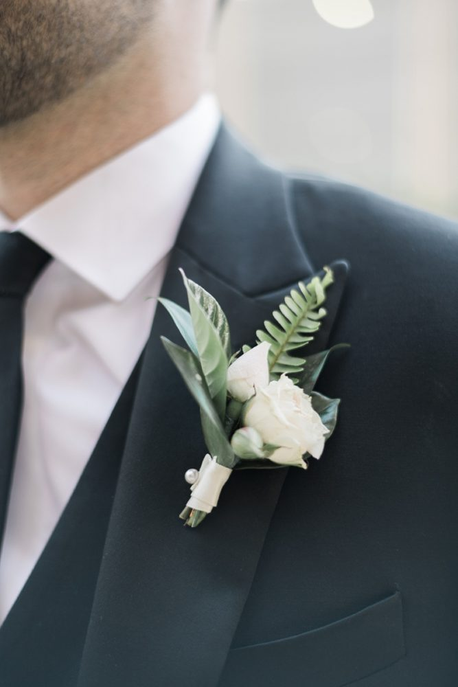 Greenery groom boutonniere: Soft & Neutral Wedding at The Pennsylvanian from Levana Melamed Photography featured on Burgh Brides