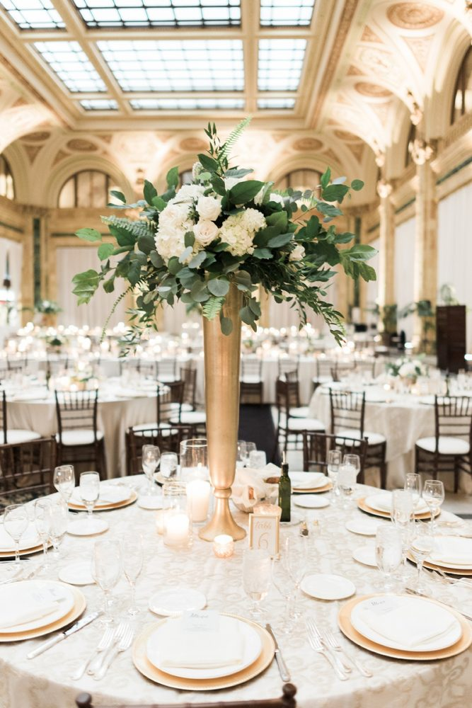 Elevated wedding centerpieces on gold stands: Soft & Neutral Wedding at The Pennsylvanian from Levana Melamed Photography featured on Burgh Brides