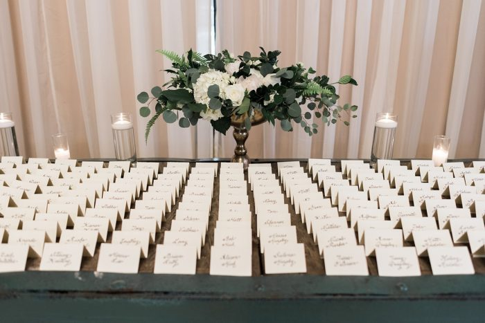 Wedding escort card display: Soft & Neutral Wedding at The Pennsylvanian from Levana Melamed Photography featured on Burgh Brides