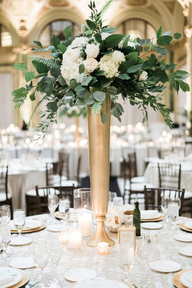 Green and white wedding centerpieces: Soft & Neutral Wedding at The Pennsylvanian from Levana Melamed Photography featured on Burgh Brides