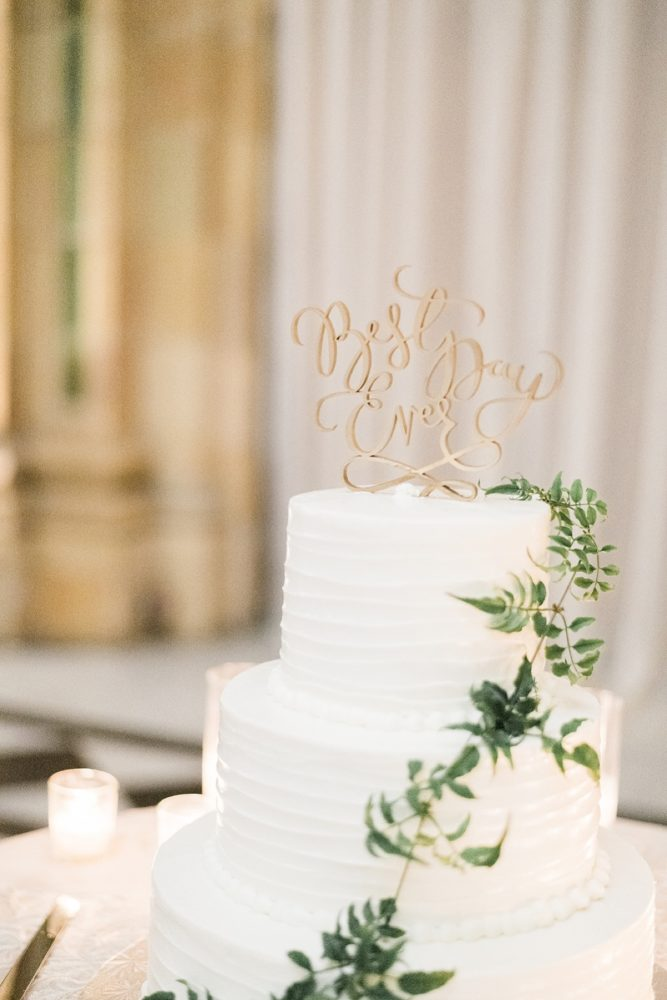 Wooden laser cut cake topper: Soft & Neutral Wedding at The Pennsylvanian from Levana Melamed Photography featured on Burgh Brides