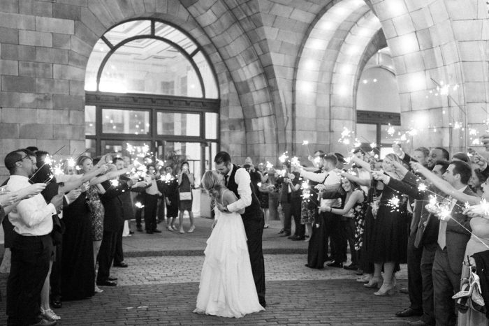 Wedding sparkler exit: Soft & Neutral Wedding at The Pennsylvanian from Levana Melamed Photography featured on Burgh Brides