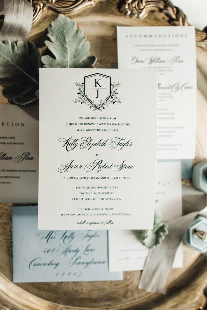 Wedding Monogram Stationery: Timeless & Elegant Omni William Penn Wedding from Dawn Derbyshire Photography & Olive & Rose Events