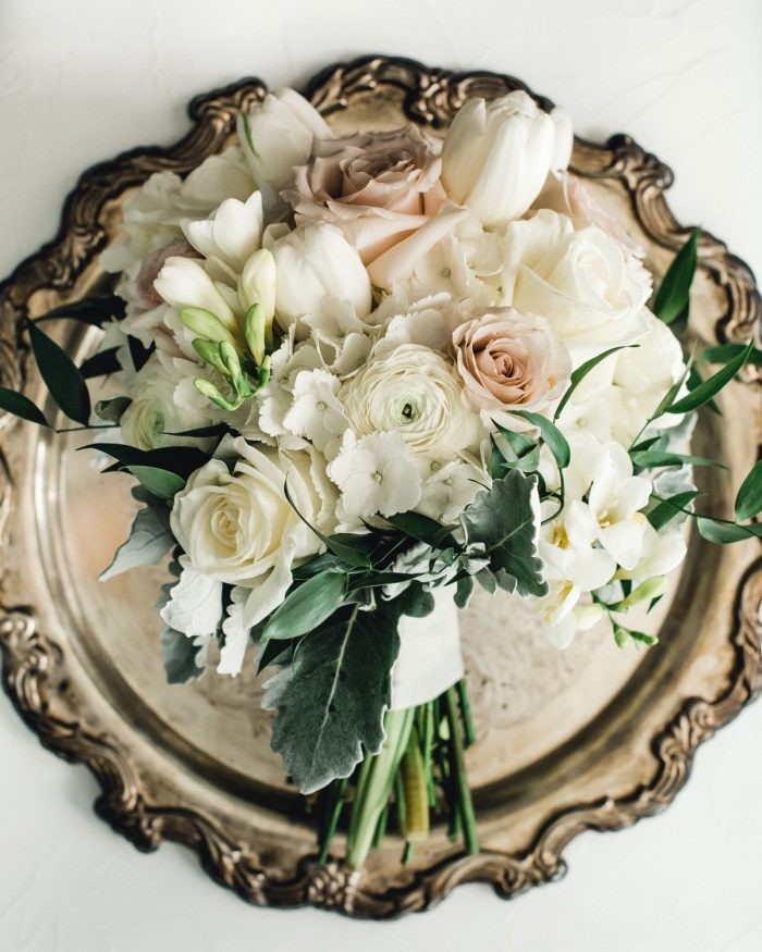 Ivory & Mauve Wedding Bouquet: Timeless & Elegant Omni William Penn Wedding from Dawn Derbyshire Photography & Olive & Rose Events