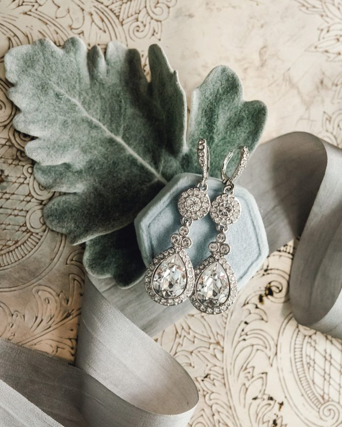 Crystal Drop Earrings: Timeless & Elegant Omni William Penn Wedding from Dawn Derbyshire Photography & Olive & Rose Events