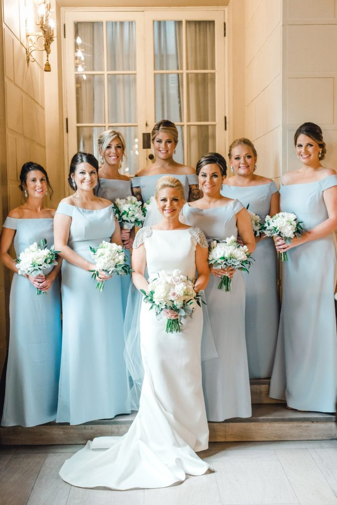 Light Blue Wedding Dress: Timeless & Elegant Omni William Penn Wedding from Dawn Derbyshire Photography & Olive & Rose Events