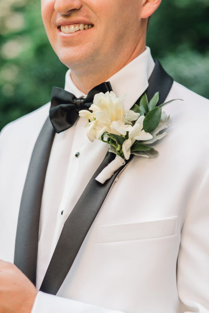 Black and white tuxedo on groom: Timeless & Elegant Omni William Penn Wedding from Dawn Derbyshire Photography & Olive & Rose Events
