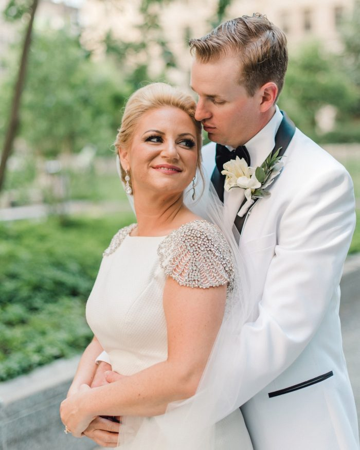 Beaded cap sleeve Rosa Clara wedding dress: Timeless & Elegant Omni William Penn Wedding from Dawn Derbyshire Photography & Olive & Rose Events