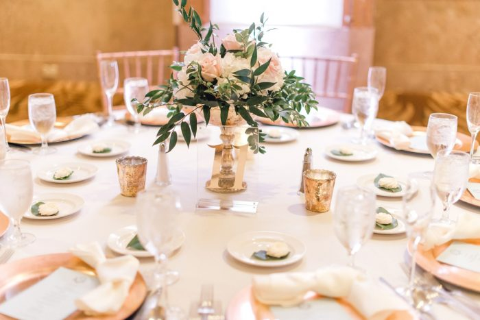 Pink and white wedding centerpieces: Timeless & Elegant Omni William Penn Wedding from Dawn Derbyshire Photography & Olive & Rose Events