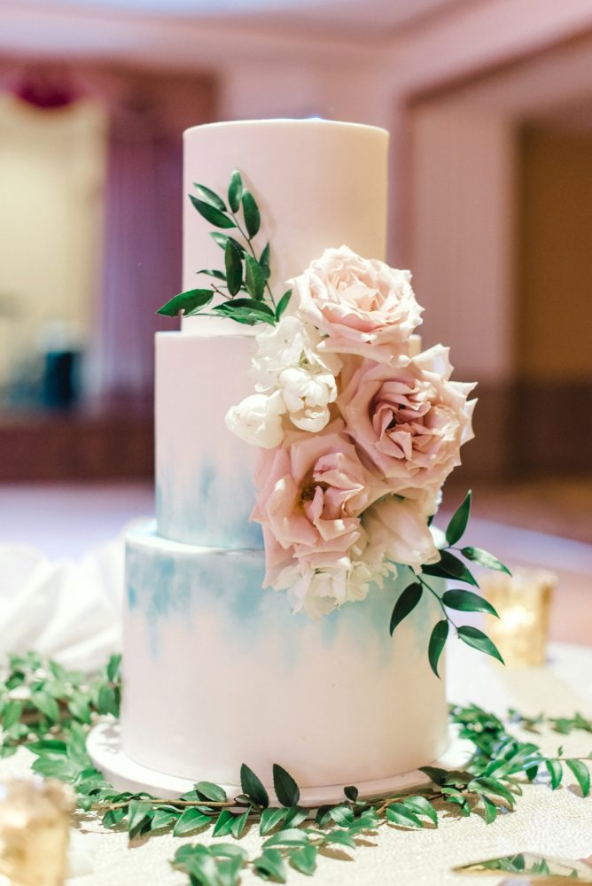 Hand painted wedding cake: Timeless & Elegant Omni William Penn Wedding from Dawn Derbyshire Photography & Olive & Rose Events