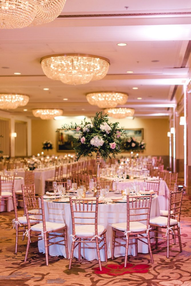 Elevated white and pink wedding centerpieces: Timeless & Elegant Omni William Penn Wedding from Dawn Derbyshire Photography & Olive & Rose Events
