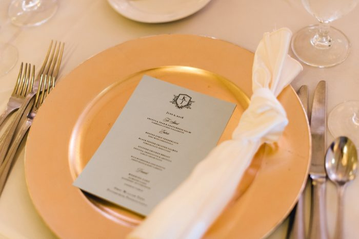 Wedding place setting with gold charger: Timeless & Elegant Omni William Penn Wedding from Dawn Derbyshire Photography & Olive & Rose Events